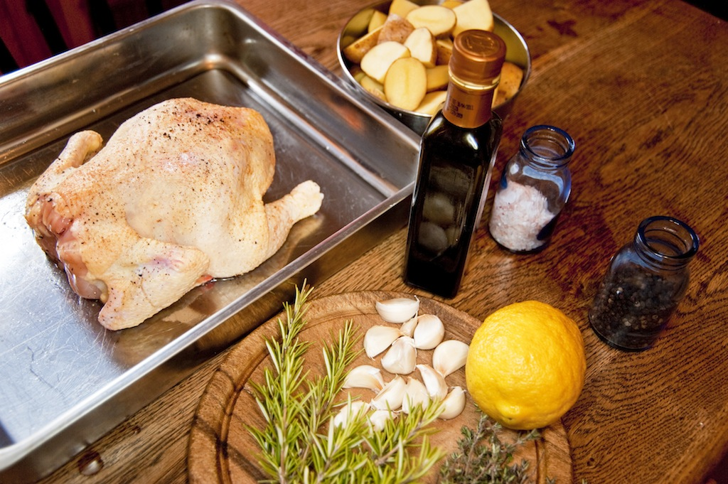preparation of a  roasted chicken