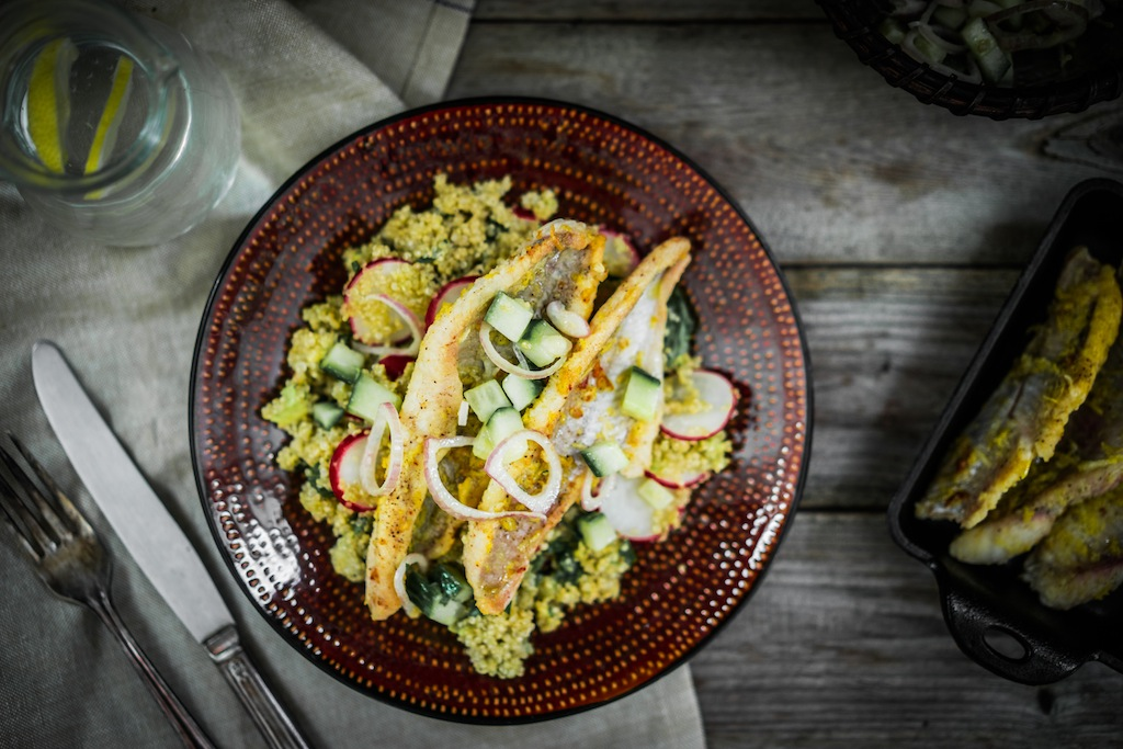 Grilled catfish with quinoa and radish salad