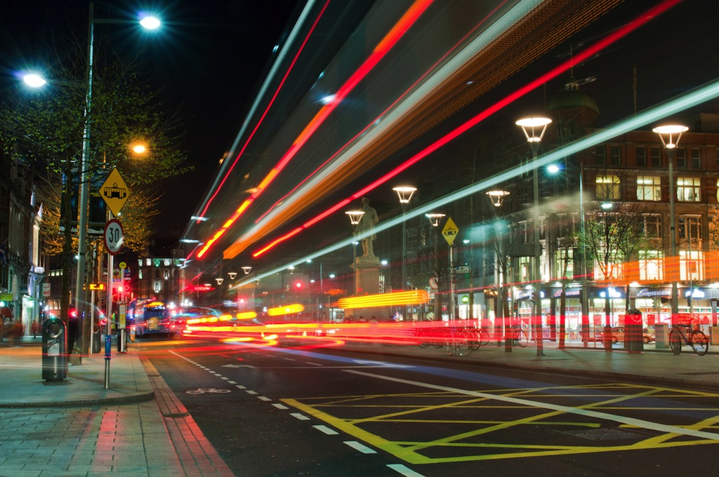 DUBLIN, IRELAND - MARCH 27: stunning nightscene at the famous O'Connell Street in Dublin on March 27, 2012 in Dublin, Ireland. Dublin is the capital of Ireland, attracting over 4.5 million visitors per year.